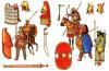 Armamento persa guerreros persas. Izquierda guerreros de las satrapias de Asia Menor, derecha guerreros de Persia y Media