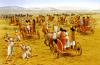 Batalla de Kadesh 1.274 AC. Fase 1: los 2.000 carros hititas atacando de flanco a la división Ra. Autor Brian Delf para Osprey