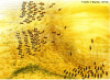 Batalla de Megido 1457 AC. Ataque de carros. Ambas fuerzas emplearon carros con arcos como arma principal, necesitando espacios entre ellos para maniobrar. Tutmosis III Avanza contra el rey de Kadesh que forma el centro cananita, derrotándolo y poniéndole en fuga. Autor Brian Delf para Osprey