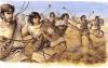 Honderos íberos se empleaban para desorganizar las líneas enemigas antes del choque entre las infanterías pesadas, algunos llevan caetras.