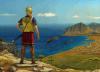 Amílcar Barca en Sicilia durante la Primera Guerra Púnica. El general púnico contempla el campamento romano y la ciudad de Panormo (Palermo) que conquistaría en el 246 AC. Autor Dariusz Bufnal.