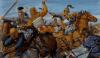 Batalla de Gránico 334 AC (4). Clito el Negro cortando el brazo de Reomitres (que mandaba la caballería Bactriana) cuando este, iba a asestar a Alejandro con su espada. Autor Richard Hook para Osprey