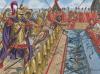 Batalla de naval Milae o Milas 260 AC. Los marines romanos cruzando con el orvus para abordar un barco cartaginés, éstos se defienden arrojando todo lo que tienen incluido culebras. Autor Giuseppe Rava