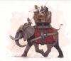 Elefante de guerra asiatico de cartaginés, lleva una torre con tres tripulantes