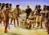 Honderos de Baleares, reclutamiento durante la campaña de Magón en el 206 AC, el reclutador está sentado y protegidos por guerreros libios. Autor Steve Noon para Osprey
