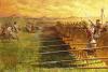 Infantería cartaginesa en acción siglo III AC. En primer término el Batallón Sagrado, al fondo la falange libio-fenicia y a vanguardia honderos e infantería ligera o lonchoporoi. Autor Andrei Karaschuk (А Каращук)