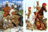 Mercenarios cartagineses: Izquierda Johnny Shumate de pie infante libio, de rodillas infante turdetano y celtibero, detrás jinete númida y jinete galo. A la derecha Richard Hook representa infante sammita con pectoral de discos, jinete campano e infante lucano