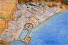 Murallas de Cartago, se puede apreciar la triple muralla terrestre y la sencilla muralla marítima, también se aprecia los puertos civil y militar. Autor Jean Claude Golvin