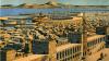 Puerto militar y civil de Cartago. El militar es circular con una isla en el medio. el civil es rectangulas. Representación artística