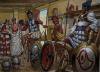 Soldados del Batallón Sagrado Cartaginés Siglo IV AC: se ve a uno de ellos con coraza o torax, el del medio desnudo y el de la derecha con linotorax. Auto Giuseppe Rava