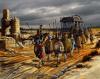 Transporte del catafalco de Alejandro, iba tirado por 64 mulas y escoltado por Arrideo. Autor Pablo Outeiral