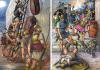Asalto romano a Cartagena (Cartago Nova) 209 AC. Izquierda las tropas de Escipión asaltando las murallas, a la derecho saqueo de la ciudad. Autor Ángel García Pinto