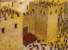 Asalto romano a Cartagena (Cartago Nova) 209 AC , Las fuerzas de escipión atacando la puerta de la ciudad. Autor Adam Hook