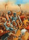 Batalla de Cannas o Cannae 216 AC. Lucha en el centro entre galos y legionarios romanos. Autor Peter Dennis