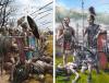 Batalla de Ilipa 206 AC. Las formaciones hispanas recibiendo el ataque de las legiones romanas, a la derecha legionarios romanos. Autor Pablo Outeiral