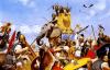 Batalla de Trebia 218 AC. Ataque de los elefantes. El elefante lleva demasiada tripulación para ser africano. Autor Angus Mcbride