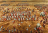Batalla de Zama 202 AC (5). Carga de los elefantes de Aníbal que son atacados por los vélites romanos, unos pasan entre las filas romanas sin causar daño, otros son muertos y otros retroceden contra las lineas púnicas. Autor Peter Dennis