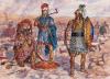 Batalla de Zama 202 AC (5). Secuelas de la batalla. Un oficial cartaginés posiblemente del Batallón Sagrado junto a un centurión piceno y un centurión etrusco después de una batalla. Autor Giuseppe Rava