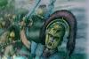 Batalla del Lago Trasimeno 217 AC. Centurión romano intentando poner orden en las filas romanas.