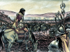 Batalla del Lago Trasimeno 217 AC. Aníbal observando la batalla