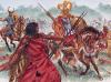 Batalla del Lago Trasimeno 21 de junio de 217 AC. Se aprecia un infante númida, un jinete galo y un jinete cartagines, al fondo jinetes númidas. Autor Giuseppe Rava