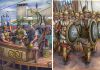 Conquista romana de Cartagena (Cartago Nova) 209 AC (1), a la izquierda Cayo Leio dirigiendo la flota romana , a la derecha soldados cartagineses de la plaza. Autor Ángel García Pinto