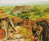 Primeros habitantes de Roma, al fondo la colina Capitolina. Autor Peter Connolly
