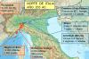 Mapa de situación de las fuerzas púnicas y romanas en el Norte de Italia en el 20 AC