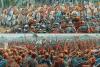 Batalla de Idastaviso o del río Weser año 16. Legionarios en cuña atacando a los germanos. Superior vista desde el lado romano, inferior vista desde el lado germano. Los centuriones forman la punta. Autor Peter Dennis