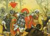 Batalla de los bosques de Teoteburgo año 9. Los romanos consiguen repeler el ataque. Autor Angus McBride