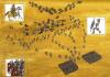 Batalla de Nisibis 217. Auxiliares lanceros o lanciarii, pertenecientes a la legión II Pártica atacando a los catafractas partos, primero solían poner trampas o abrojos, después les lanzaban las jabalinas y finalmente acometían con la lanza. Esto permitía frenar el impulso de la carga de los catafractas contra las legiones