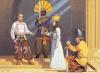 Investidura de Bahram VI Chobin. Se llevó a cabo en una de las entradas del palacio de Bahram Gur en Sargristan. 1 Bahram IV Chobin tras su victoria contra los turcos en se convierte en un héroe nacional; 2 Mobad Shapsheraz levanta la espada ceremonial, el gorro significa el poder y la divinidad del sol; 3 Sacerdotisa del templo de Anahita, está entregando a Bahram la corona o Farr del dios Ahuramazda; 4 Savar Padan (oficial de caballería) de Rayy arrodillado, lleva un yelmo spangenhelm tipo Nínive, clava la espada en la tierra. Autor Angus McBride