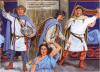Saqueo del harén de Sapor en el 261: 1 y 2 soldados romanos cilicios o de la flota de Alejandría; 2 oficial de la legión IIII Escítica; 3 concubina. Autor Angus McBride