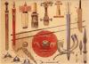 Armamento de un guerrero germánico: 1 espadas, a) de origen romano, b) de origen ruso siglo V, c) del Rin, d) franco-romana de Namur, e) germana con anillos interconectados, f) hoja de dos piezas de hierro, g) cuchillo sax. 2 angones empleados del siglo III al VI eran similares a las pilum. 3 escudo redondo con adornos y diferentes umbos. 4 puntas de lanza, a) jabalina, b) lanza normal, c) lanza franca de caza, d) lanza convencional. 5 cuernos. Autor Angus McBride