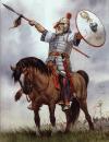 Batalla de Faventia 542. El guerrero ostrogodo Valaris se adelanta y desafía al ejército bizantino. Artabazes un armenio aceptó el desafío y en el lance ambos murieron. Autor Angus McBride
