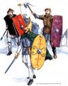 Guerreros marcomanos y cuados siglos I y II: 1 guerrero ordinario suevo con lanza y sax o cuchillo largo y escudo cuadrado. 2 jefe con yelmo de bronce, cota de malla y espada. 3 guerrero con escudo alargado, espada y hacha. Autores G&A Embleton