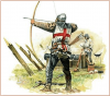 Arquero inglés disparando su arco largo o longbow y al fondo uno de los cinco cañones cañones usados por los ingleses en la batalla de Crecy.