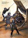 Artillería francesa 1430-53: 1 Sirviente de un ribauldequin o ribauld o cañón de órgano. 2 Ayudante levantando el mantelete. 3 tirador disparando un arquebus. Autor Angus McBride para Osprey