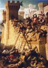 Asedio de Acre 1291. El maestre hospitalario Mathieu de Clermont defendiendo las murallas. Museo del Louvre