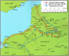 Batalla de Azincourt o Agincourt 1.415. Movimientos previos a la batalla. Fuente Osprey