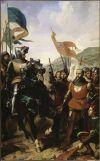 Batalla de Cocherel 1364. Jean de Grailly rindiéndose a Bertrand du Guesclin