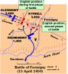 Batalla de Formigny despliegue de fuerzas. Fuente http://xenophongroup.com/