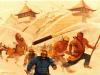 Batalla de Kaifeng 1232. Los chinos emplearon cohetes contra las fuerzas mongolas espantando los caballos y causando una gran confusión. Autor Charles Hubbell.
