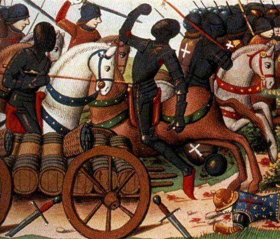 Batalla de los Arenques 1429. Autor Martial d'Auvergne, iluminador de la obra Vigiles de Charles VII, Paris, France, siglo XV
