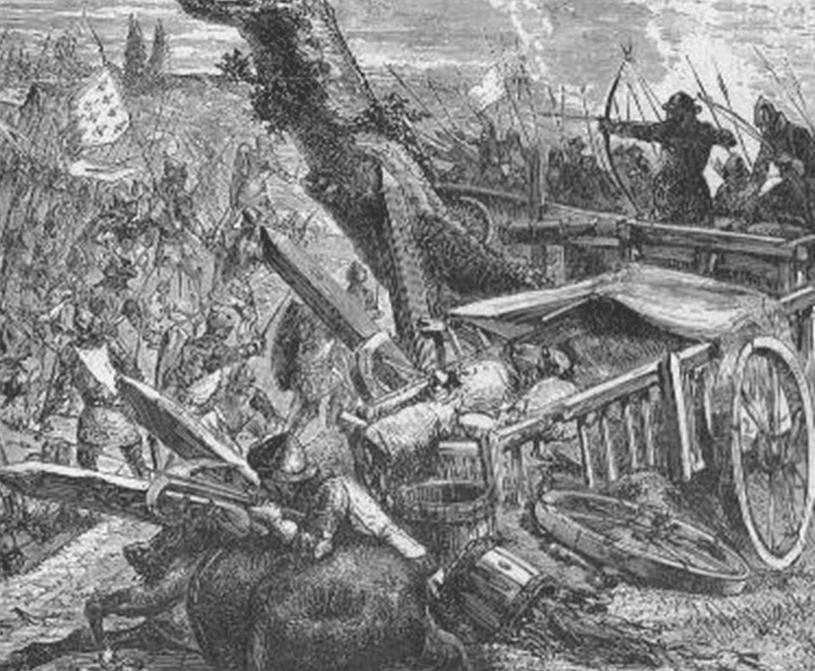 Batalla de los Arenques 1.429. Los hombres de armas escoceses desmontan y atacan el laager inglés