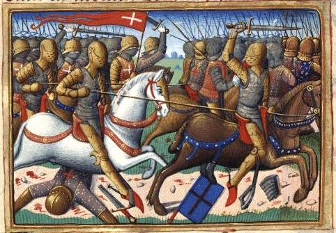 Batalla de Verneuil 1.424. Autor Martial d'Auvergne, iluminador de la obra Vigiles de Charles VII, Paris, France, siglo XV