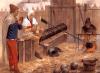 """Bombarda de asedio inglesa 1410. Los sirvientes visten de forma similar a los arqueros. Enrique V decía """"La guerra sin artillería es como la salchicha sin mostaza"""". El transporte de estas piezas carros pesados que ralentizaba la marcha. Autor Graham Turner"""