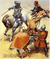 Caballería francesa 1337-60: 1 Delfin Carlos lleva cota de malla con placas en brazos y piernas, y yelmo de bacinete; 2 Escudero del sur lleva cota de malla, y placas en las piernas, yelmo cilíndrico con visor.; 3 Caballero del Defín, lleva cota de malla y yelmo tipo bacinete. Autor Angus Mcbride