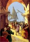 Asedio de Acre 1291. Hospitalarios evacuando civiles en el puerto de Acre durante la caída de la ciudad. Autora Christa Hook