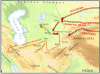 Conquista mongola del imperio Corasmio o Karhezm. Rutas mongolas para la conquista del imperio Corasmio o Karhezm (1.219 – 1.221)